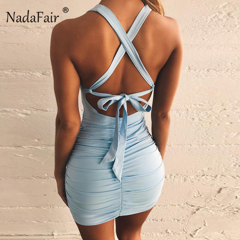 Nadafair backless bodycon summer sexy bandage dress women sleeveless lace up slim wrap draped mini club party dress blue black