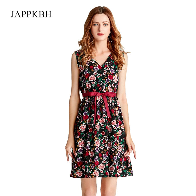 JAPPKBH Summer Autumn Women Dress New Elegant Sweet Print Floral Deep V Ladies Dresses Vintage Beach Party Dress Women Vestidos