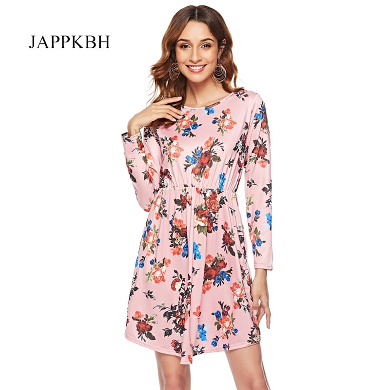 JAPPKBH Autumn Summer Dress Women Casual Print Floral Long Sleeve Ladies Dresses Elegant Vintage Boho Party Women Dress Vestidos