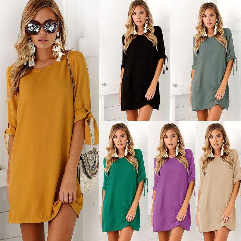 JAPPKBH Summer Autumn Vintage Dress Women Casual Solid O-Neck Mini Ladies Dresses Elegant Sexy Loose Beach Party Dress Vestidos