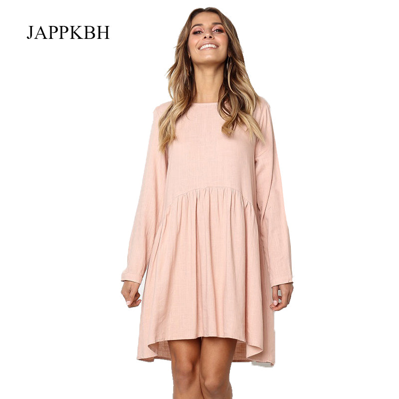 JAPPKBH Summer Dress Women Solid Long Sleeve Cotton And Linen Pleated Ladies Dresses Elegant Vintage Beach Party Dress Vestidos