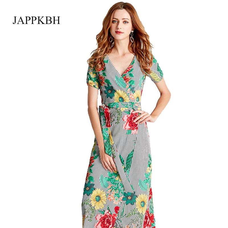 JAPPKBH Print Floral Summer Women Dress Casual Vintage V-Neck High Fork Chiffon Long Dress Female Elegant Beach Party Dresses