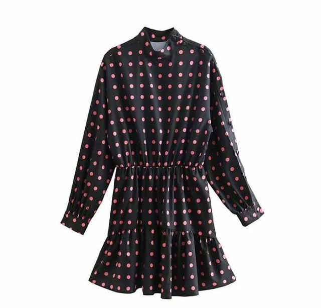 2018 Autumn Women Long Sleeve Cute Pink Polka Dot Mini Dress Slim Waist Turtleneck Black A-line Dress Vintage Party Clothes