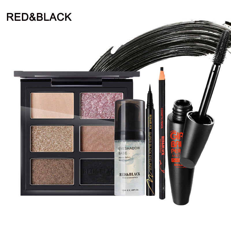 Red&Black Makup Tool Kit Including Matte Eyeshadow primer 4D fiber mascara Eyebrow Pencil Eyeliner Makeup Set Cosmetic Kit