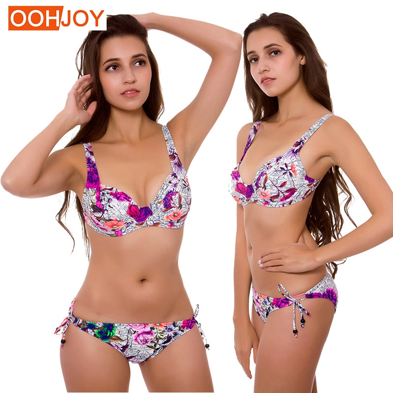 New Rose Print Bikini Women Swimsuit Plus Size Underwire Bathing Suit M-3XL Girl Adjustable Straps Swimwear Side Tie Bikini Set