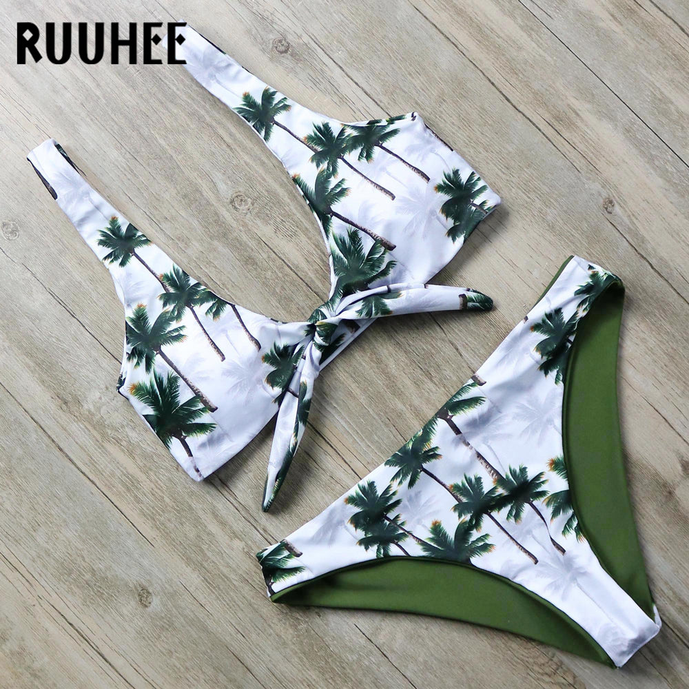 RUUHEE Bikini Swimsuit Women Swimwear Sport Top Bikini Set Palm Printed Bathing Suit Push Up Summer Beachwear Swimming Suit 2019