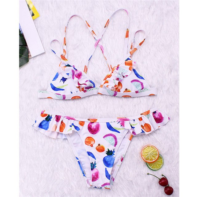 Ruffle Bikinis 2019 Sexy Women Swimsuit Female Print Swimwear Bandage Thong Bikini Set Biquini Bathing Suit