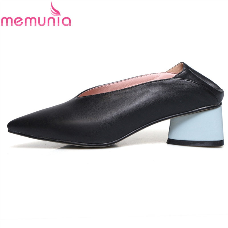 MEMUNIA 2019 New arrival high quality genuine leather shoes woman pointed toe square high heels spring summer dress shoes female