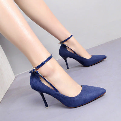 Four seasons wild high-heeled shoes women's autumn and winter new 9cm fine with suede pointed ladies high heels