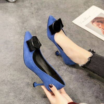 2019 new women's single shoes Korean fashion shallow mouth pointed high heels wild casual work shoes
