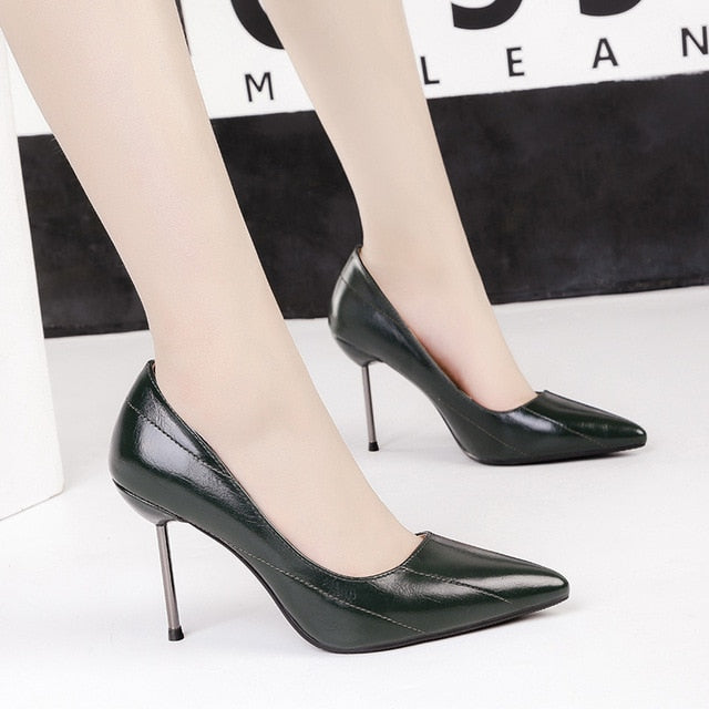 2019 New Woman 9cm High Heels Office Sexy Shoes Female Stiletto Green Party Leather Escarpins Valentine Slim Pumps Funky Shoes