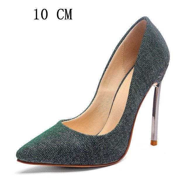 COCOAFOAL Sexy Women's High Heels Shoes Woman Heel Shoes Plus Size Pointed Toe Wedding Party Pumps Stiletto Stripe Blue Red 2018