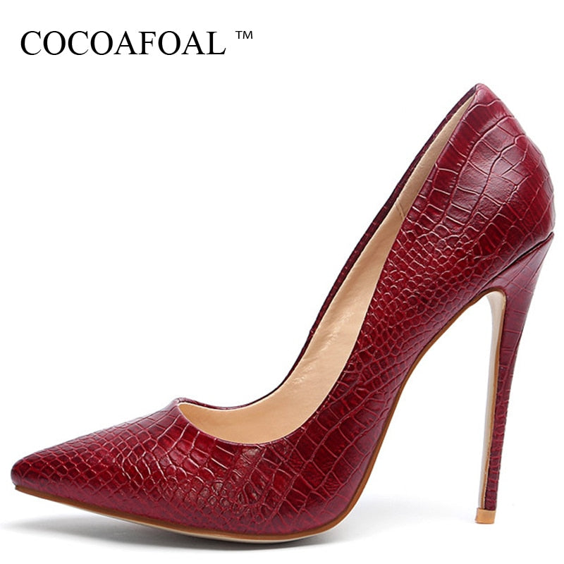 COCOAFOAL Woman High Heels Shoes Women's Bridal Wedding Heel Shoes Snakeskin Black Red Party Plus Size Pumps Party Stiletto 2018