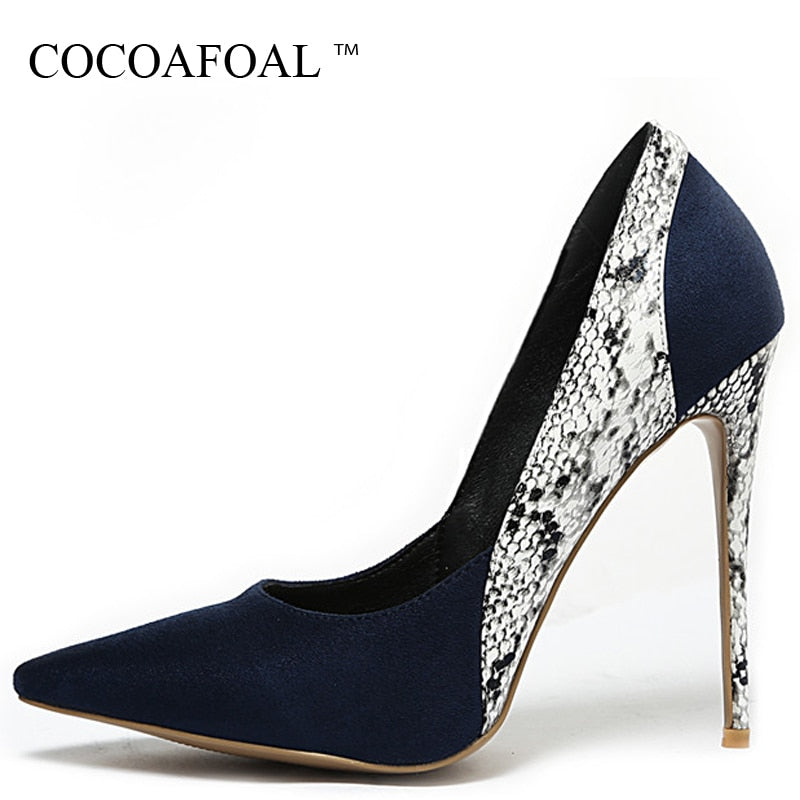 COCOAFOAL Woman High Heels Shoes Snakeskin Heel Shoes Women's Black Blue Plus Size Pointed Toe Pumps Party Stiletto Graffiti