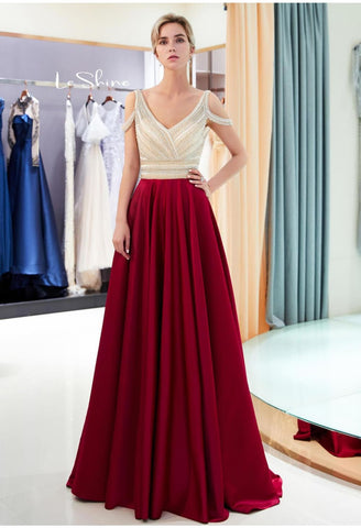 A-Line Bridesmaid Dresses Brilliant Rhinestones Embellished - 4