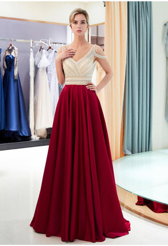 A-Line Bridesmaid Dresses Brilliant Rhinestones Embellished - 1
