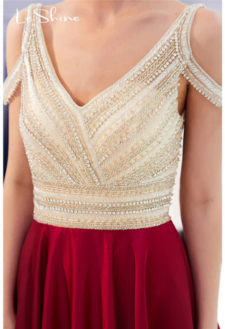 A-Line Bridesmaid Dresses Brilliant Rhinestones Embellished - 6