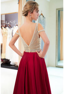 A-Line Bridesmaid Dresses Brilliant Rhinestones Embellished - 5