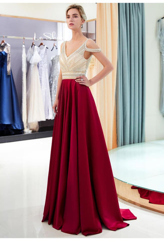 A-Line Bridesmaid Dresses Brilliant Rhinestones Embellished - 2