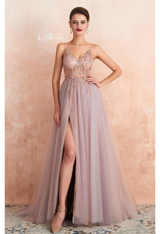 Image of A-Line Evening Dresses Brilliant Beaded with Slit Hemline Show off Sexy - 9