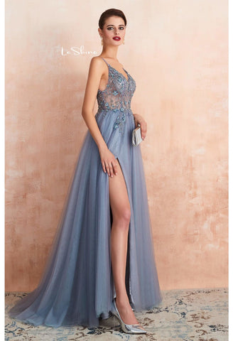 Image of A-Line Evening Dresses Brilliant Beaded with Slit Hemline Show off Sexy - 1