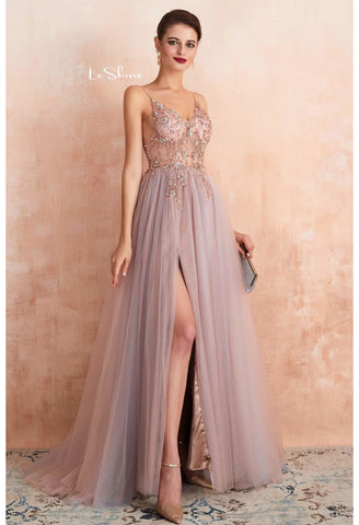 Image of A-Line Evening Dresses Brilliant Beaded with Slit Hemline Show off Sexy - 6