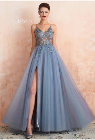 Image of A-Line Evening Dresses Brilliant Beaded with Slit Hemline Show off Sexy - 5