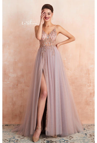 Image of A-Line Evening Dresses Brilliant Beaded with Slit Hemline Show off Sexy - 10