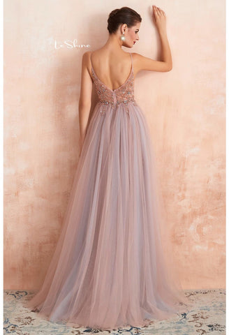 Image of A-Line Evening Dresses Brilliant Beaded with Slit Hemline Show off Sexy - 7