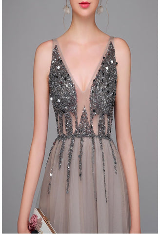 Image of A-Line Evening Dresses Sleeveless Sexy V-Neck Shiny Sequins Slit Hemline - 3