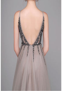 A-Line Evening Dresses Sleeveless Sexy V-Neck Shiny Sequins Slit Hemline - 2