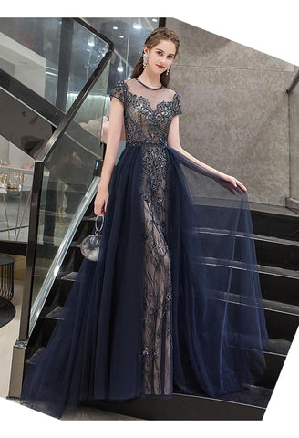 Image of A-Line Formal Dresses Luxury Beading Tops Scoop Neckline - 6