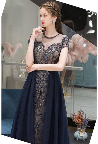 Image of A-Line Formal Dresses Luxury Beading Tops Scoop Neckline - 5