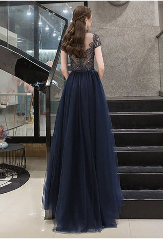 Image of A-Line Formal Dresses Luxury Beading Tops Scoop Neckline - 3