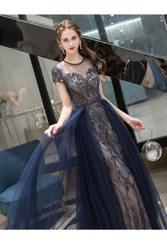 Image of A-Line Formal Dresses Luxury Beading Tops Scoop Neckline - 4