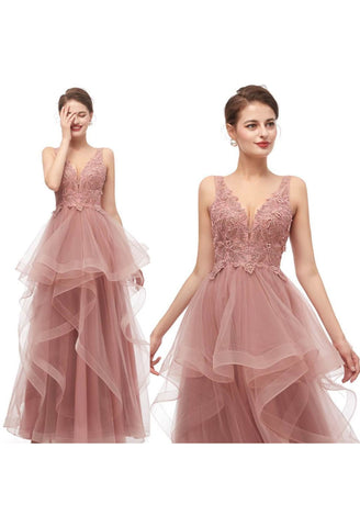 Image of A-Line Formal Dresses Stunning Embroidery V-Neck - 6