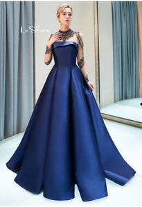 A-Line Occasion Dresses Luxury Rhinestones Embellished High Neckline Satin - 7