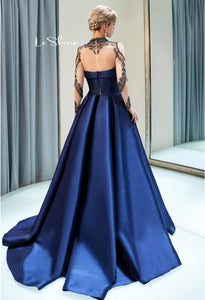 A-Line Occasion Dresses Luxury Rhinestones Embellished High Neckline Satin - 3