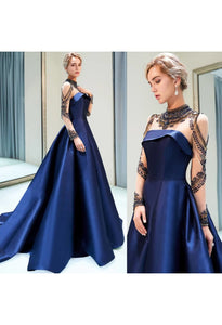 A-Line Occasion Dresses Luxury Rhinestones Embellished High Neckline Satin - 9