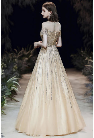Image of A-Line Pageant Dresses Brilliant Rhinestones Beading Embellished Off-Shoulder Neckline - 3