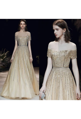 Image of A-Line Pageant Dresses Brilliant Rhinestones Beading Embellished Off-Shoulder Neckline - 7