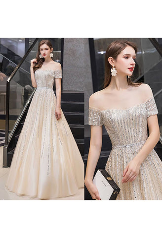 Image of A-Line Pageant Dresses Brilliant Rhinestones Beading Off-Shoulder Neckline - 7
