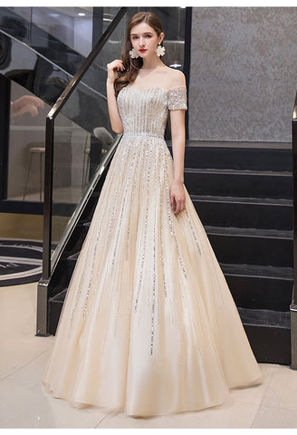 Image of A-Line Pageant Dresses Brilliant Rhinestones Beading Off-Shoulder Neckline - 1