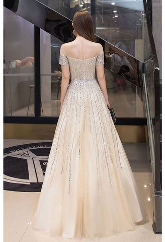 Image of A-Line Pageant Dresses Brilliant Rhinestones Beading Off-Shoulder Neckline - 3
