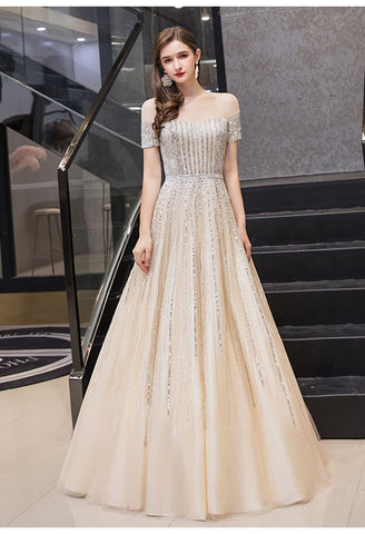 Image of A-Line Pageant Dresses Brilliant Rhinestones Beading Off-Shoulder Neckline - 5