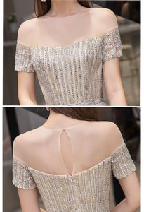 A-Line Pageant Dresses Brilliant Rhinestones Beading Off-Shoulder Neckline - 6