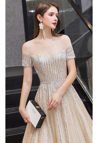 Image of A-Line Pageant Dresses Brilliant Rhinestones Beading Off-Shoulder Neckline - 4