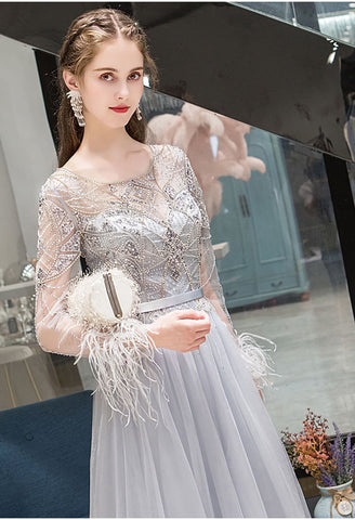 Image of A-Line Pageant Dresses Brilliant Rhinestones Embellished Feather Long Sleeves - 5