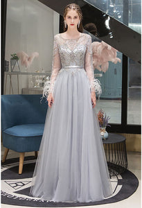 A-Line Pageant Dresses Brilliant Rhinestones Embellished Feather Long Sleeves - 3