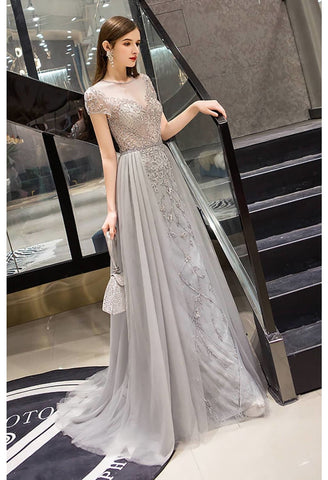 Image of A-Line Pageant Dresses Brilliant Rhinestones Embellished Scoop Neckline with Tailing Tulle - 3
